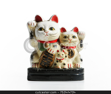 Lucky Chinese Cats stock photo, Lucky Chinese cat figurine with waving arms. by Scott Griessel