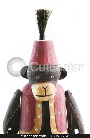 Wooden Monkey stock photo, Wooden monkey in a vest and fez medium shot isolated on pure white. by Scott Griessel
