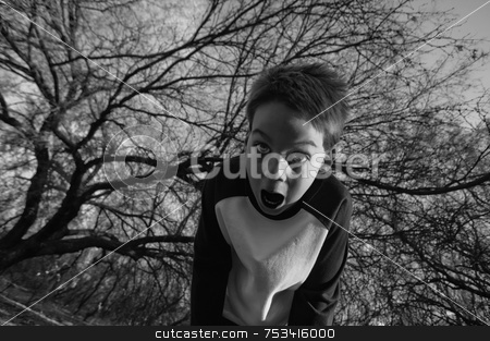 Crazy Boy stock photo, Boy in the forest screams in fear by Scott Griessel
