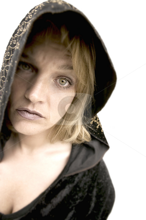 New Age Priestess stock photo, New Age Woman with Green Eyes Wearing a Hood by Scott Griessel