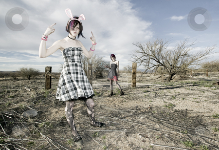 Anti-Fashion Girls stock photo, Two punk girls posing in a rural setting by Scott Griessel