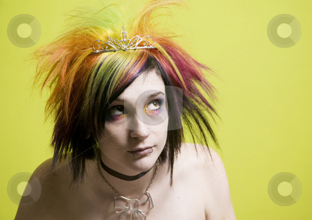 Punk Girl in front of a Green Wall stock photo, Close-up of a colorful young punk girl by Scott Griessel