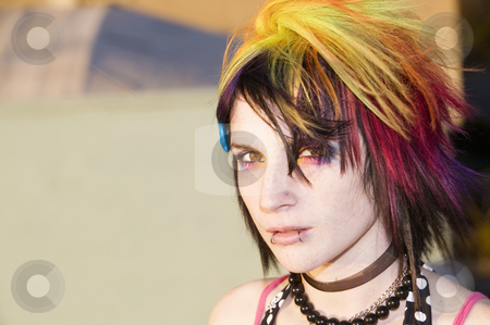 Young Punk Woman stock photo, Close-up of a colorful young punk woman by Scott Griessel