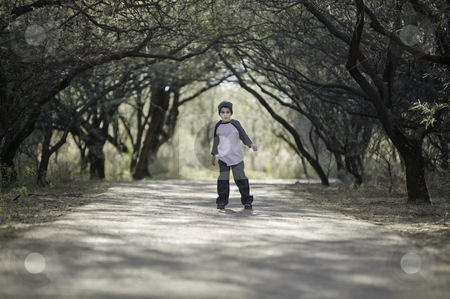 Boy on a Path stock photo, Young boy with a knit cap stopped on a tree-lined path by Scott Griessel