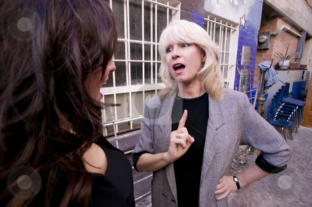 Businesswomen in an alley stock photo, Businesswoman talking and gesturing in an alley by Scott Griessel