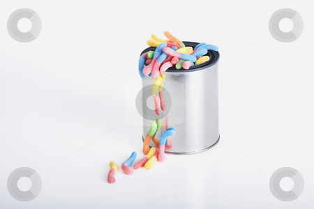 Can of Worms stock photo, Shiny can of candy worms isolated against a white background by Scott Griessel