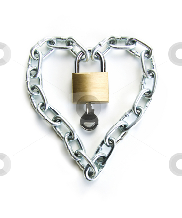 The Key to my Heart stock photo, A Padlocked Chain Shaped Lock a Heart and the Key to Open It by Scott Griessel