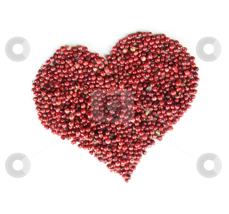 Red Pepper Heart stock photo, Red rose peppers form a heart isolated on a white background by Scott Griessel