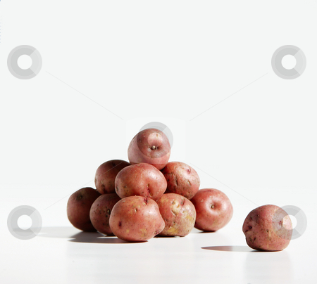 Potato Pile and Lone Spud stock photo, Pile of organic red potatos against a pure white background. by Scott Griessel