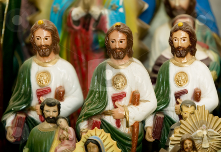 Three Jesus Statues stock photo, Three statues of jesus Christ on a Catholic altar. by Scott Griessel