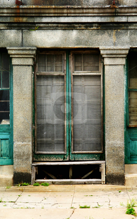 Old Doorway stock photo, Decrepit abandoned urban doorway with moldy concrete and peeling paint. by Scott Griessel