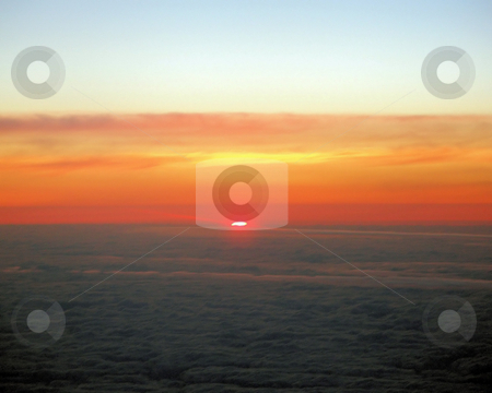 Aeroplane Sunset stock photo, The view from an aeroplane of the sunset. by Lucy Clark