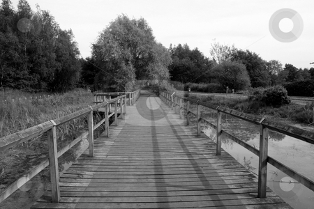 Bridge stock photo, A bridge across a lake in b&w. by Lucy Clark