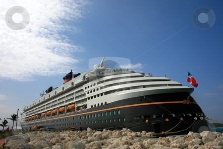 Cruise Ship stock photo, A Cruise Ship docked in the Carribbean by Lucy Clark