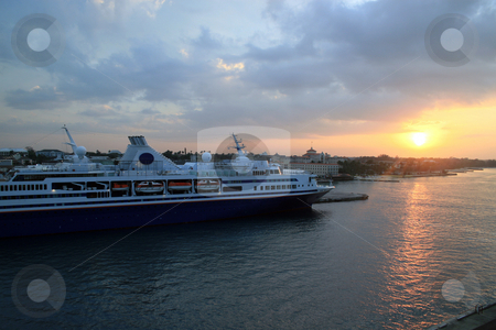 Cruise Ship Sunset stock photo, Cruise Ship at sunset in the Bahamas by Lucy Clark