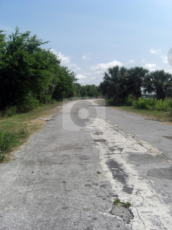 Old Road stock photo, This is a battered, broken, old and unused road that is leading to the forest by Rebecca Mosoetsa