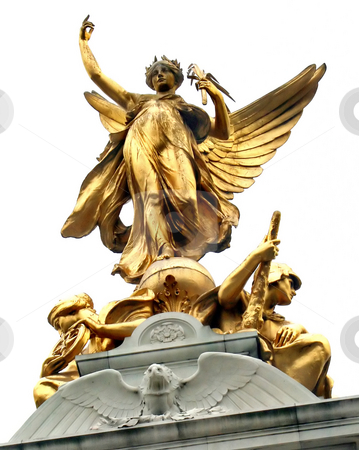 Gold Statue stock photo, Golden Angel Statue with bird in London, UK. by Lucy Clark