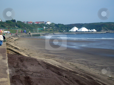 Deserted sandy beach stock photo, Deserted sandy beach looking over North Bay, Scarborough, UK. by Martin Crowdy