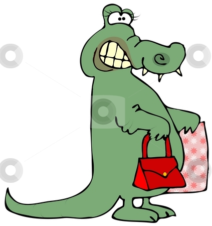 Gator Shopping stock photo, This illustration depicts a female alligator carrying a purse and a shopping bag. by Dennis Cox
