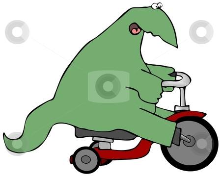 Dinosaur On A Trike stock photo, This illustration depicts a dinosaur riding a tricycle. by Dennis Cox