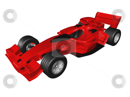 Red 3D race car side view on white background stock photo, Red 3D race car side view on white background by John Teeter