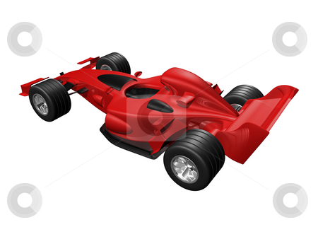 Red 3D race car rear view on white background stock photo, Red 3D race car rear view on white background by John Teeter