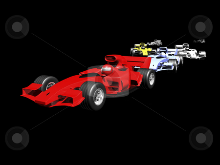 Red 3D race car rear view on black background stock photo, 3D race cars lined up on black background by John Teeter