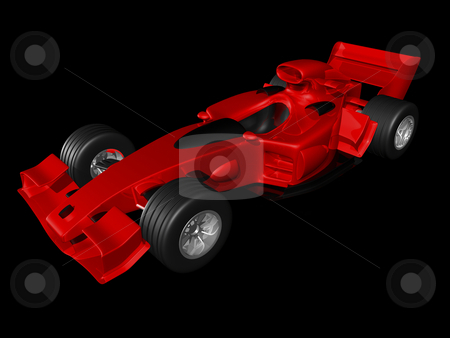 Red 3D race car side view stock photo, Red 3D race car side view on black background by John Teeter