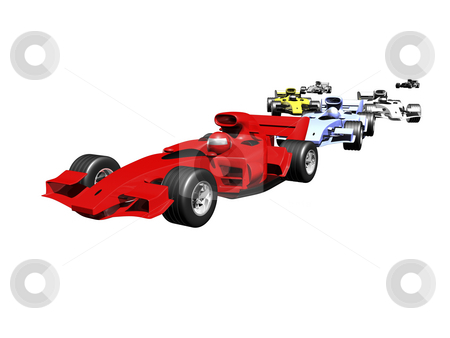 Red 3D race car rear view on white background stock photo, 3D race cars lined up on white background by John Teeter