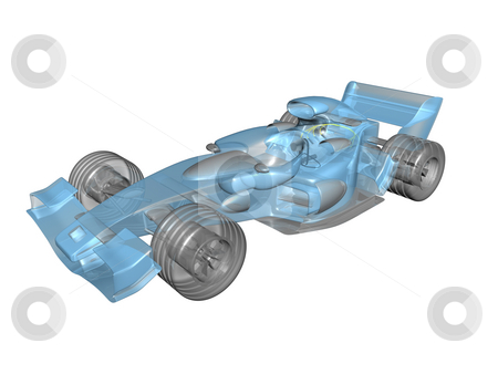 3D transparent race car stock photo, 3D transparent race car on white background by John Teeter