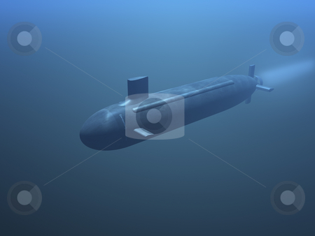 3D submarine stock photo, 3D submarine under water front view by John Teeter