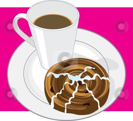 Coffee and Cinnamon Bun stock photo, A mug of hot coffee and a cinnamon bun on a white plate by Maria Bell