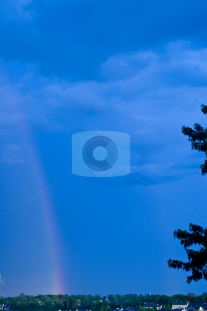 Rainbow stock photo, Colorful rainbow after a spring storm by Ron Johnson