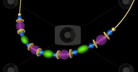 Beaded Necklace in Jewel Colors stock photo, 3D illustration of simple beaded necklace on black background. Beads are in jewel tone colors of green, purple, gold, and blue and are string on a gold wire. Beads are oval, faceted, round, and rondelle styles. Metallic and clear glass fine textures with dramatic lighting and subtle realistic shadows. Illustrates costume jewelry or handcrafting in beadwork. Pure black background, canvas is easily extended if needed. by ngirl