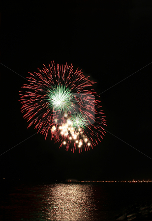 Red and green floral fireworks stock photo, Red and green floral fireworks by the bay by Jonas Marcos San Luis
