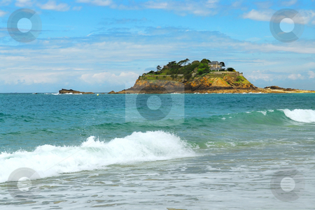 Island in the ocean stock photo, Rocky island off the ocean shore in Brittany, France by Elena Elisseeva