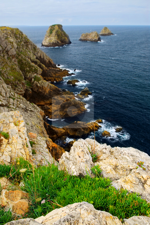 Atlantic coast in Brittany stock photo, Scenic view from Pointe de Penhir on Atlantic coast in Brittany, France by Elena Elisseeva