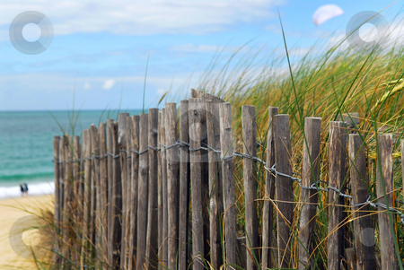 Beach fence stock photo, Old wooden fence on a beach in Brittany, France by Elena Elisseeva