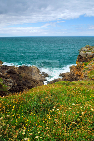 Atlantic coast in Brittany stock photo, Landscape of rocky Atlantic coast in Brittany, France by Elena Elisseeva