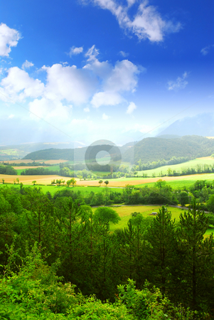 Rural landscape stock photo, Rural landscape with hills and mountains in eastern France by Elena Elisseeva