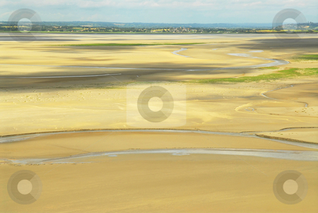 Landscape in Brittany stock photo, Ocean at low tide viewed from Mont Saint Michelle abbey, France by Elena Elisseeva