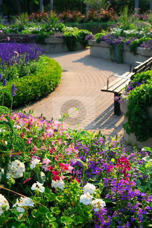 Formal garden stock photo, Formal garden with blooming flowers in the summer by Elena Elisseeva