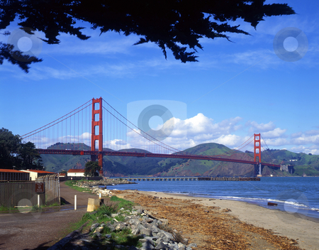 Golden Gate Bridge stock photo, The Golden Gate Bridge, photographed from the San Francisco side. by Mike Norton
