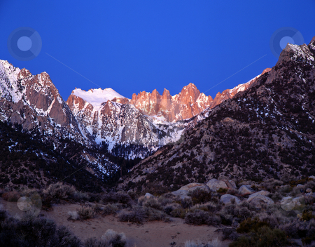 Mt. Whitney 2 stock photo, Mt. Whitney, the tallest mountain in the lower 48 states, in California. by Mike Norton