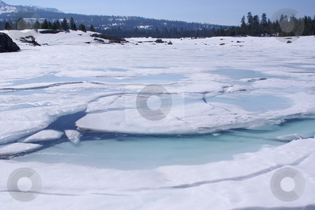 Spring Ice Breakup In The High Sierra's stock photo, Ice breaking up on a high Sierra lake. by Lynn Bendickson