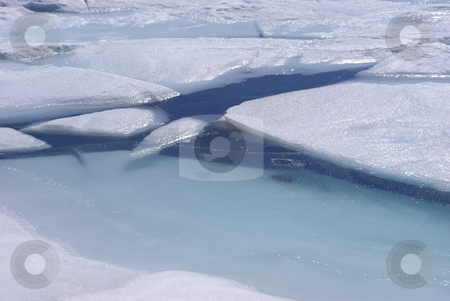 Blue Ice And Water stock photo, Spring ice breakup on a high Sierra lake. by Lynn Bendickson