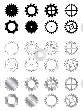 Gears collection stock photo, Gears of several types, shapes and colours in a industry related collection by Dario Rota