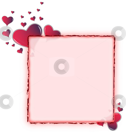 Red amaranth heart frame - rounded stock photo, Valentine card. Ideal frame for valentines day portrait by Dario Rota