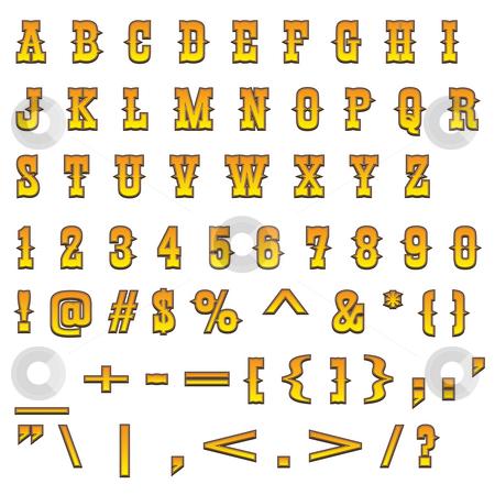 Western alphabet stock photo, Typical carved wood western alphabet by Dario Rota