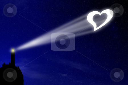 Love lighthouse stock photo, The love lighthouse projects a heart signal in the night deep blue sky, a sign for all lovers to celebrate their feeling by Dario Rota